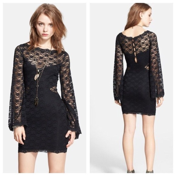 Free People • Lovely in Lace Black Bodycon Dress